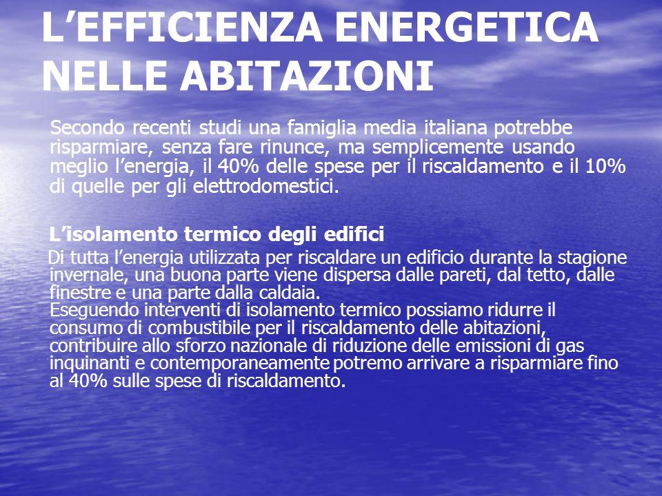 LEFFICIENZA ENERGETICA NELLE ABITAZIONI Secondo recenti studi una famiglia media italiana potrebbe risparmiare, senza fare rinunce, ma semplicemente u