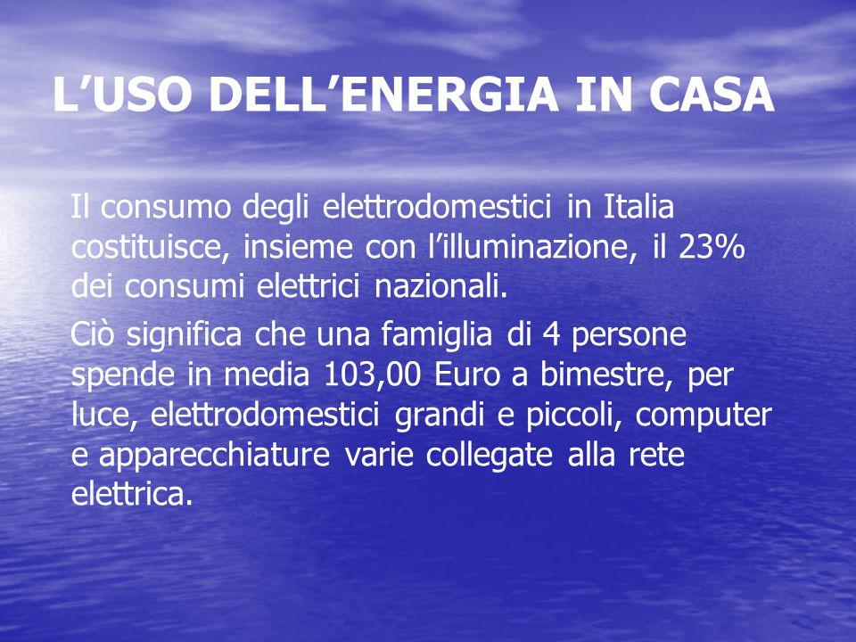 LUSO DELLENERGIA IN CASA Il consumo degli elettrodomestici in Italia costituisce, insieme con lilluminazione, il 23% dei consumi elettrici nazionali.