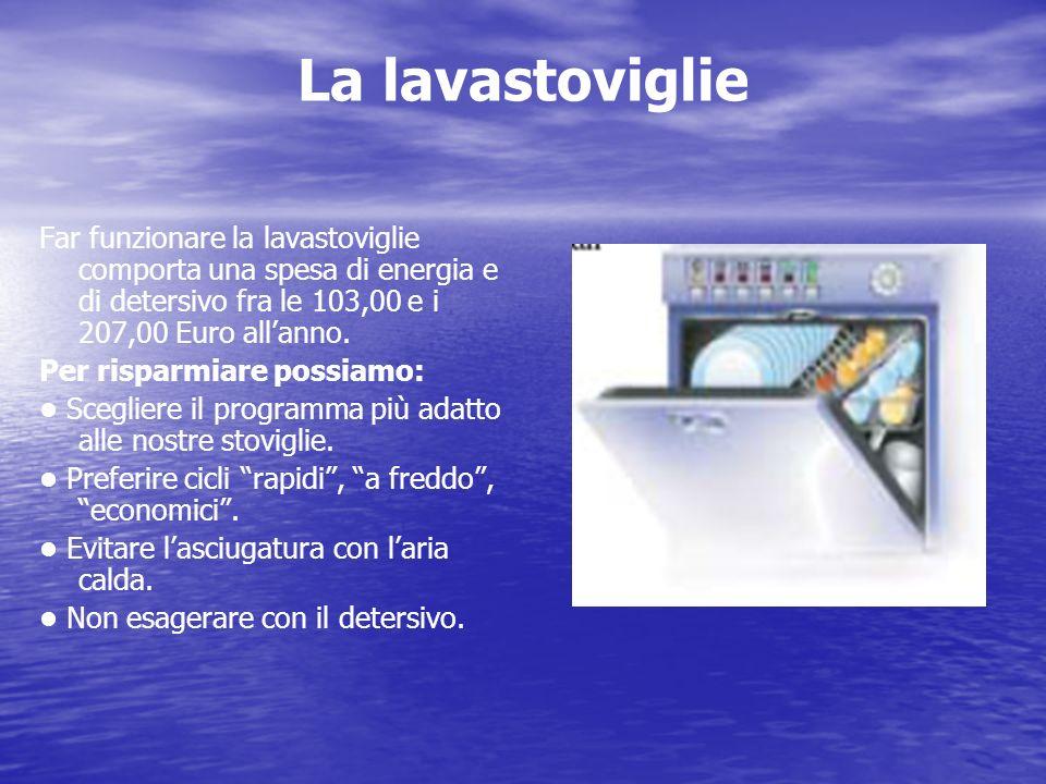 La lavastoviglie Far funzionare la lavastoviglie comporta una spesa di energia e di detersivo fra le 103,00 e i 207,00 Euro allanno. Per risparmiare p