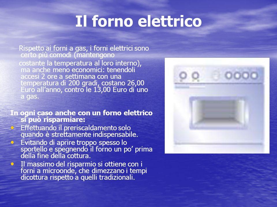 Il forno elettrico Rispetto ai forni a gas, i forni elettrici sono certo più comodi (mantengono costante la temperatura al loro interno), ma anche men