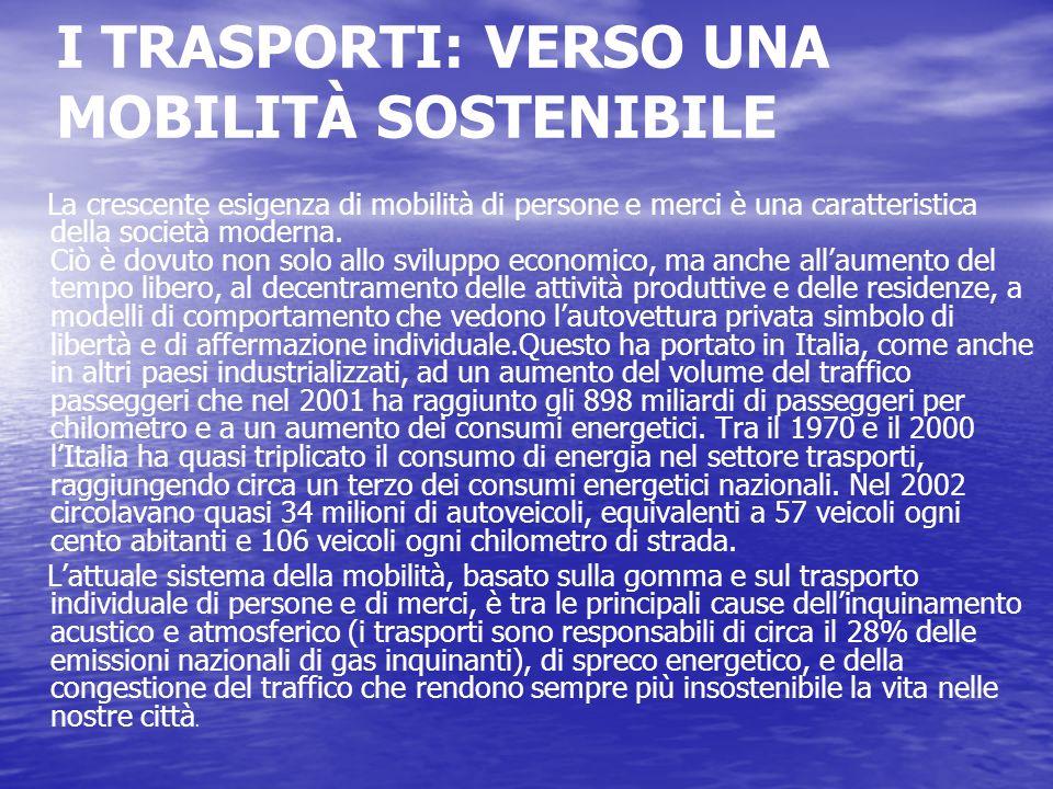 I TRASPORTI: VERSO UNA MOBILITÀ SOSTENIBILE La crescente esigenza di mobilità di persone e merci è una caratteristica della società moderna. Ciò è dov