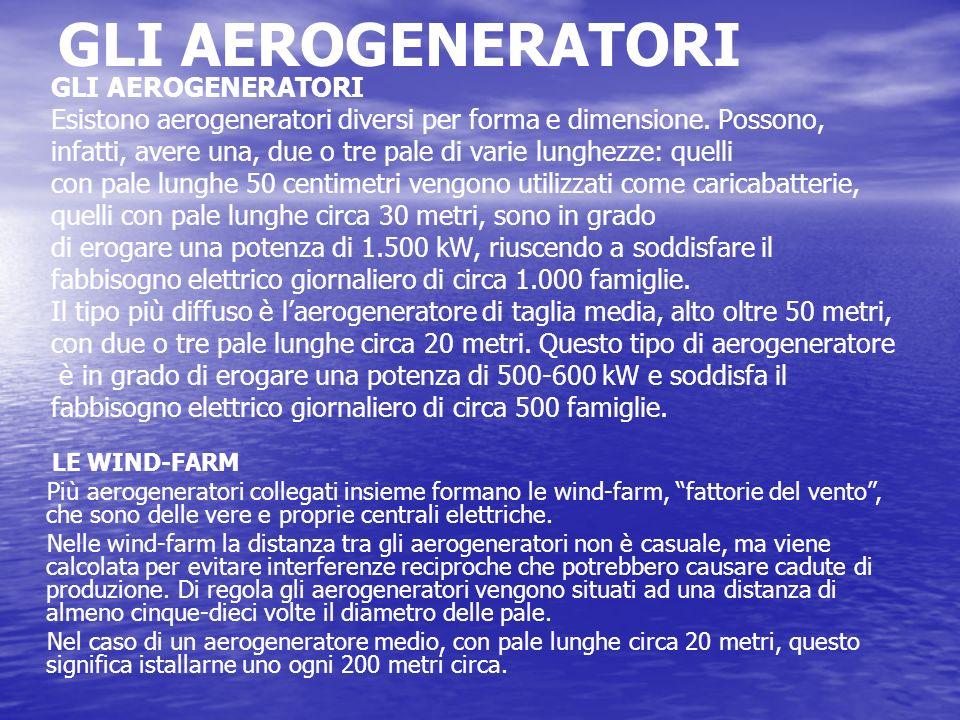 GLI AEROGENERATORI Esistono aerogeneratori diversi per forma e dimensione. Possono, infatti, avere una, due o tre pale di varie lunghezze: quelli con