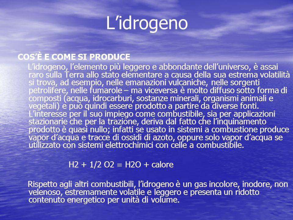 Lidrogeno COSÈ E COME SI PRODUCE Lidrogeno, lelemento più leggero e abbondante delluniverso, è assai raro sulla Terra allo stato elementare a causa de