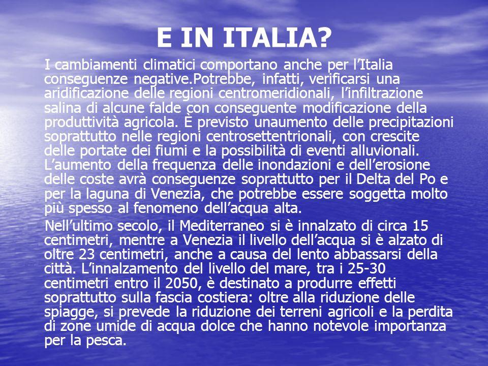 E IN ITALIA? I cambiamenti climatici comportano anche per lItalia conseguenze negative.Potrebbe, infatti, verificarsi una aridificazione delle regioni