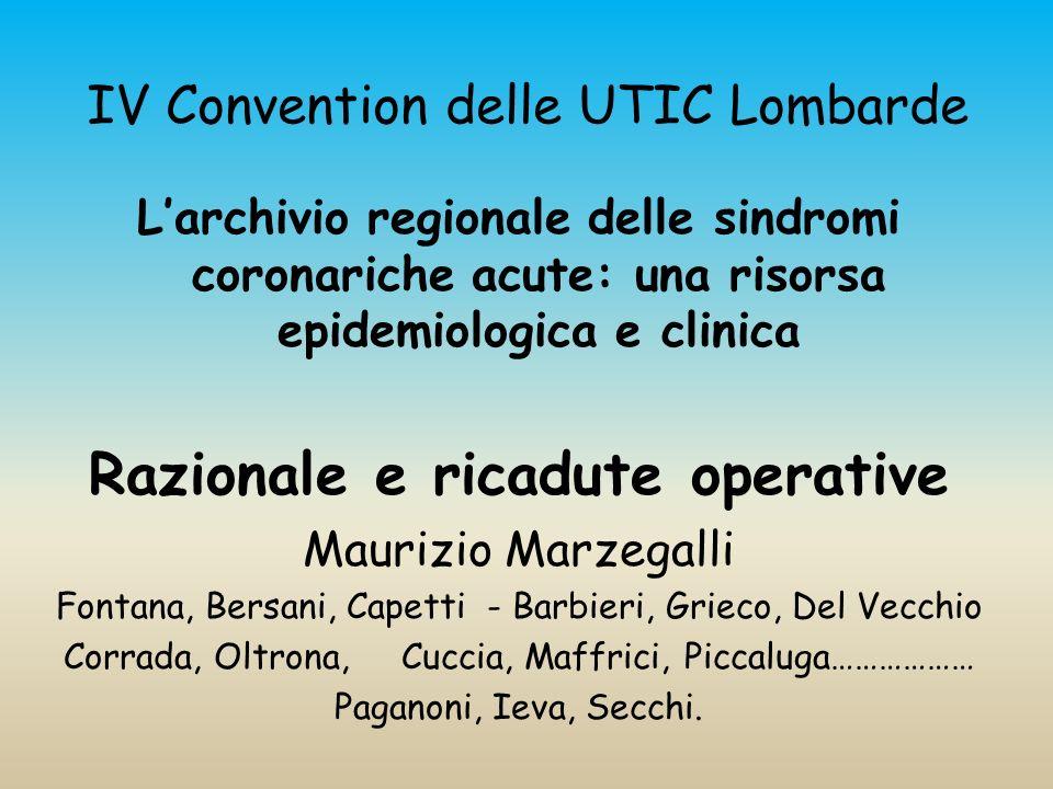 IV Convention delle UTIC Lombarde Larchivio regionale delle sindromi coronariche acute: una risorsa epidemiologica e clinica Razionale e ricadute oper