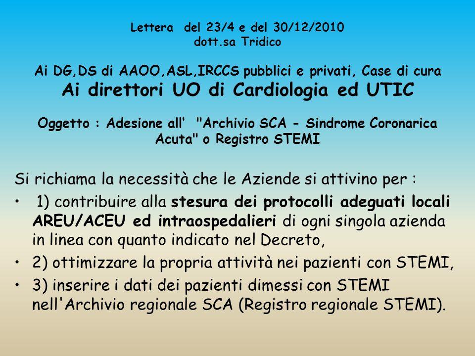 Lettera del 23/4 e del 30/12/2010 dott.sa Tridico Ai DG,DS di AAOO,ASL,IRCCS pubblici e privati, Case di cura Ai direttori UO di Cardiologia ed UTIC O