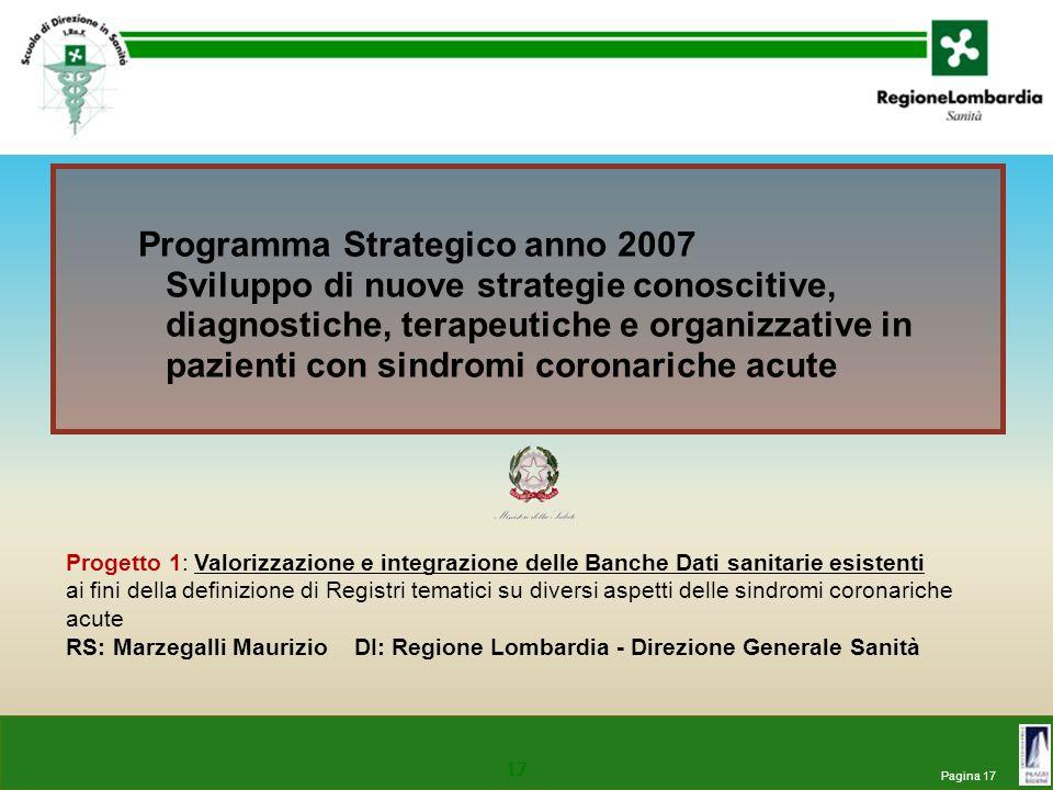 Pagina 17 17 Programma Strategico anno 2007 Sviluppo di nuove strategie conoscitive, diagnostiche, terapeutiche e organizzative in pazienti con sindro