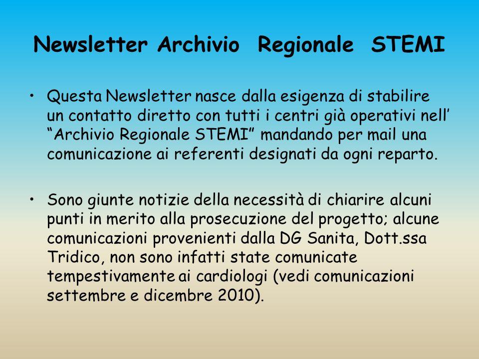 Newsletter Archivio Regionale STEMI Questa Newsletter nasce dalla esigenza di stabilire un contatto diretto con tutti i centri già operativi nell Arch