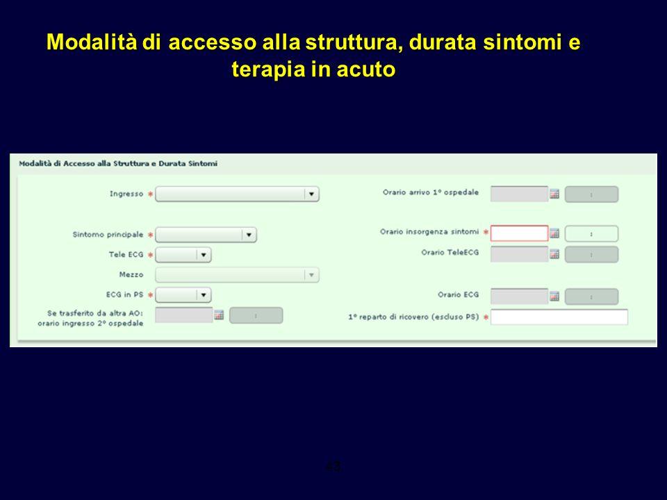 Modalità di accesso alla struttura, durata sintomi e terapia in acuto 43