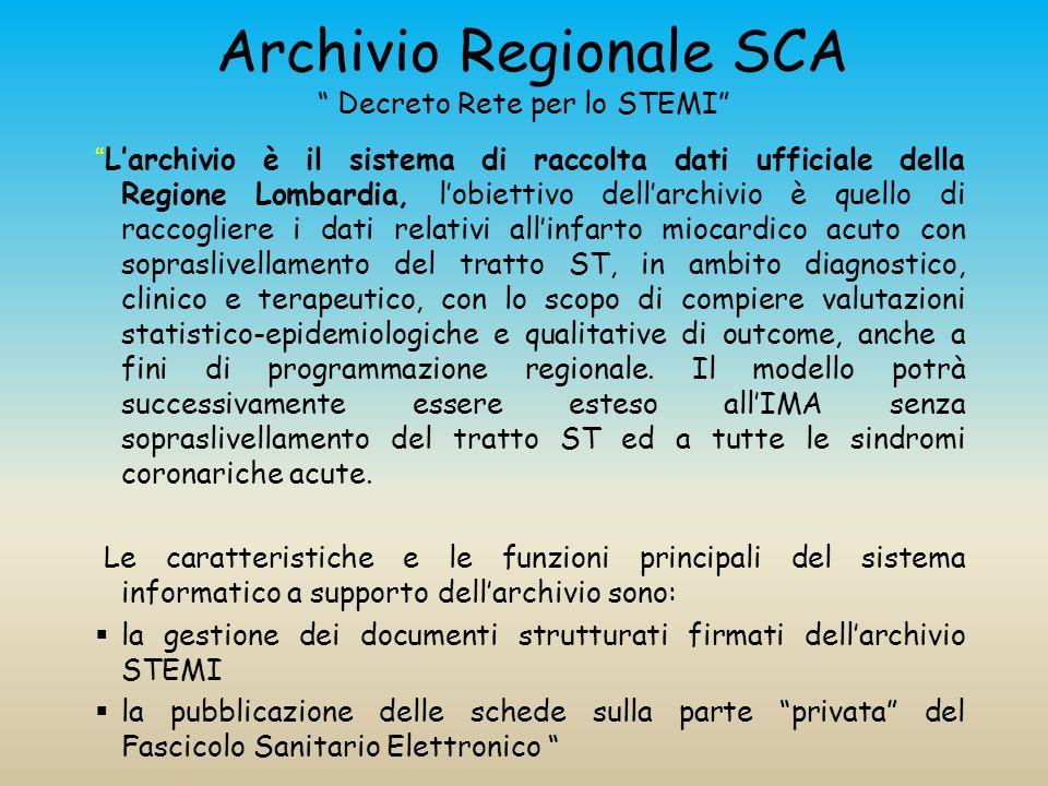 Archivio Regionale SCA Decreto Rete per lo STEMI Larchivio è il sistema di raccolta dati ufficiale della Regione Lombardia, lobiettivo dellarchivio è