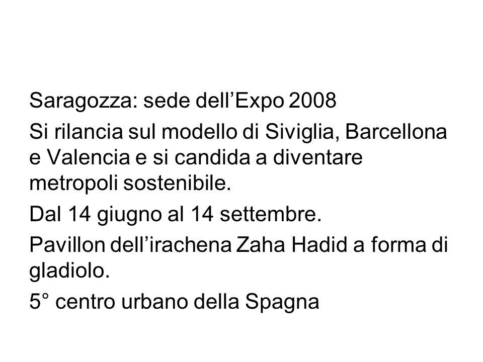 Saragozza: sede dellExpo 2008 Si rilancia sul modello di Siviglia, Barcellona e Valencia e si candida a diventare metropoli sostenibile.