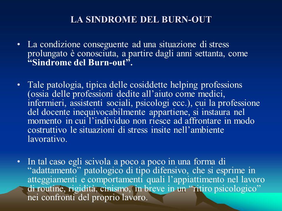 LA SINDROME DEL BURN-OUT La condizione conseguente ad una situazione di stress prolungato è conosciuta, a partire dagli anni settanta, come Sindrome d