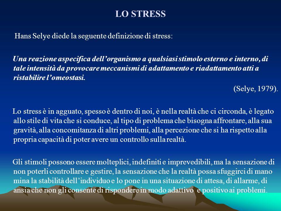LO STRESS Hans Selye diede la seguente definizione di stress: Una reazione aspecifica dellorganismo a qualsiasi stimolo esterno e interno, di tale int