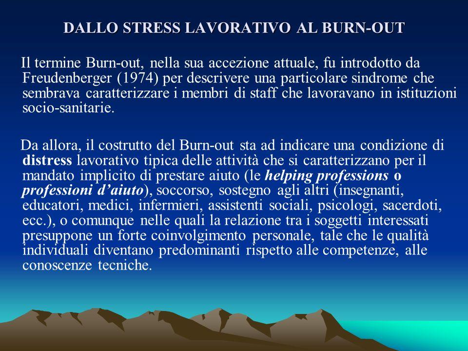 DALLO STRESS LAVORATIVO AL BURN-OUT Il termine Burn-out, nella sua accezione attuale, fu introdotto da Freudenberger (1974) per descrivere una partico