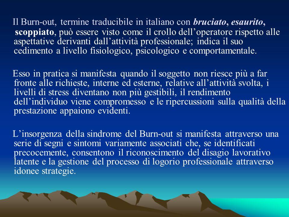 Il Burn-out, termine traducibile in italiano con bruciato, esaurito, scoppiato, può essere visto come il crollo delloperatore rispetto alle aspettativ