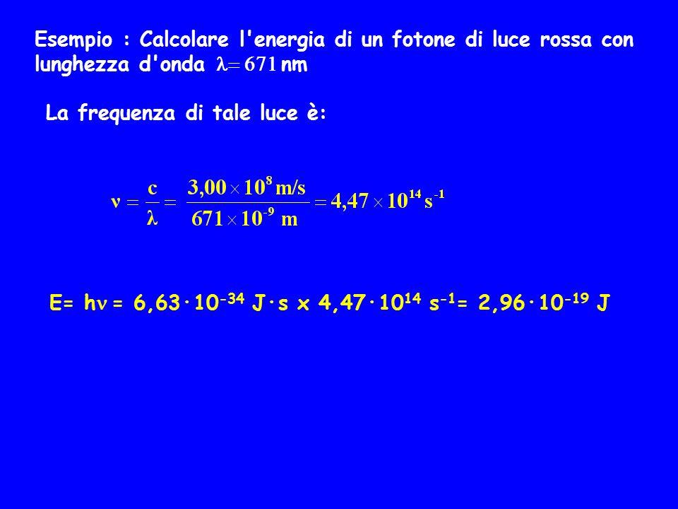 Esempio : Calcolare l'energia di un fotone di luce rossa con lunghezza d'onda nm La frequenza di tale luce è: E= h = 6,63·10 -34 J·s x 4,47·10 14 s -1