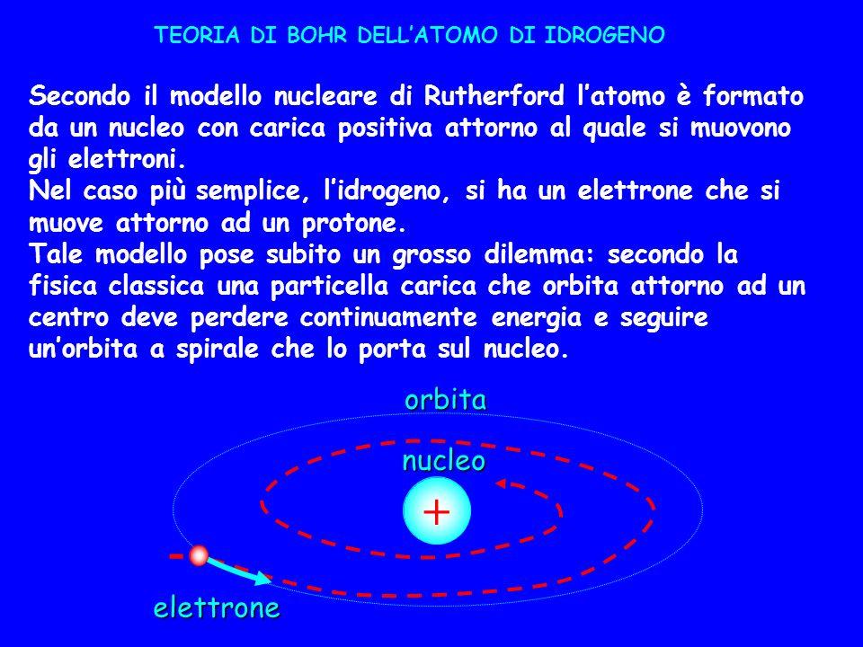 TEORIA DI BOHR DELLATOMO DI IDROGENO Secondo il modello nucleare di Rutherford latomo è formato da un nucleo con carica positiva attorno al quale si m