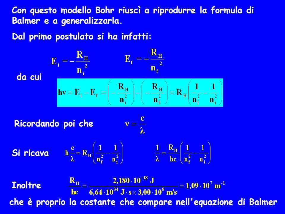 Con questo modello Bohr riuscì a riprodurre la formula di Balmer e a generalizzarla. Dal primo postulato si ha infatti: da cui Ricordando poi che Si r