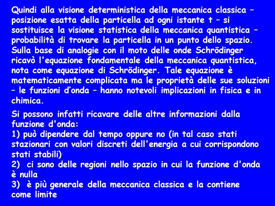 Quindi alla visione deterministica della meccanica classica – posizione esatta della particella ad ogni istante t – si sostituisce la visione statisti