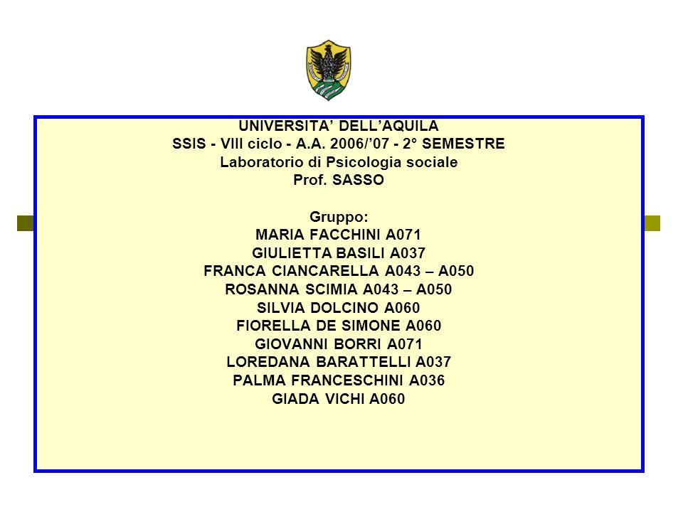 UNIVERSITA DELLAQUILA SSIS - VIII ciclo - A.A.