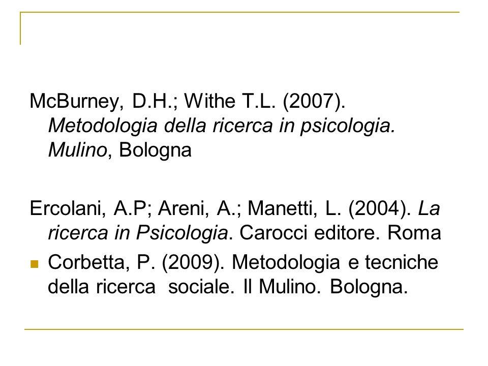 McBurney, D.H.; Withe T.L.(2007). Metodologia della ricerca in psicologia.