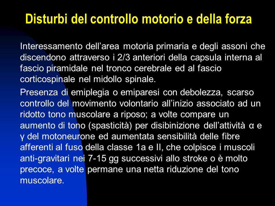 Disturbi del controllo motorio e della forza Interessamento dellarea motoria primaria e degli assoni che discendono attraverso i 2/3 anteriori della c