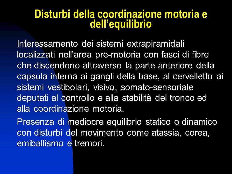 Disturbi della coordinazione motoria e dellequilibrio Interessamento dei sistemi extrapiramidali localizzati nellarea pre-motoria con fasci di fibre c