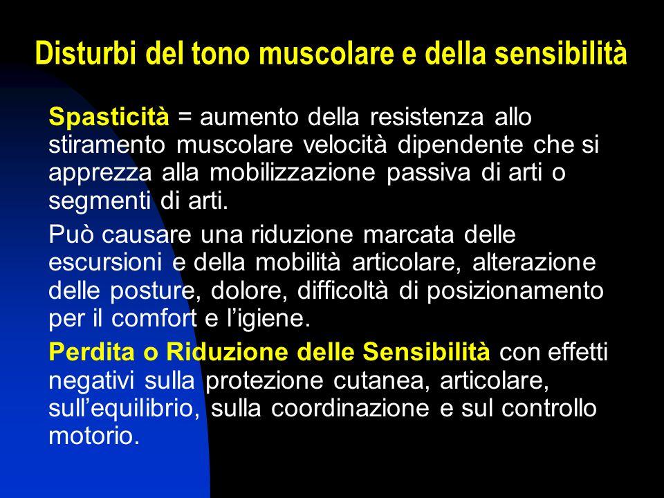 Disturbi del tono muscolare e della sensibilità Spasticità = aumento della resistenza allo stiramento muscolare velocità dipendente che si apprezza al
