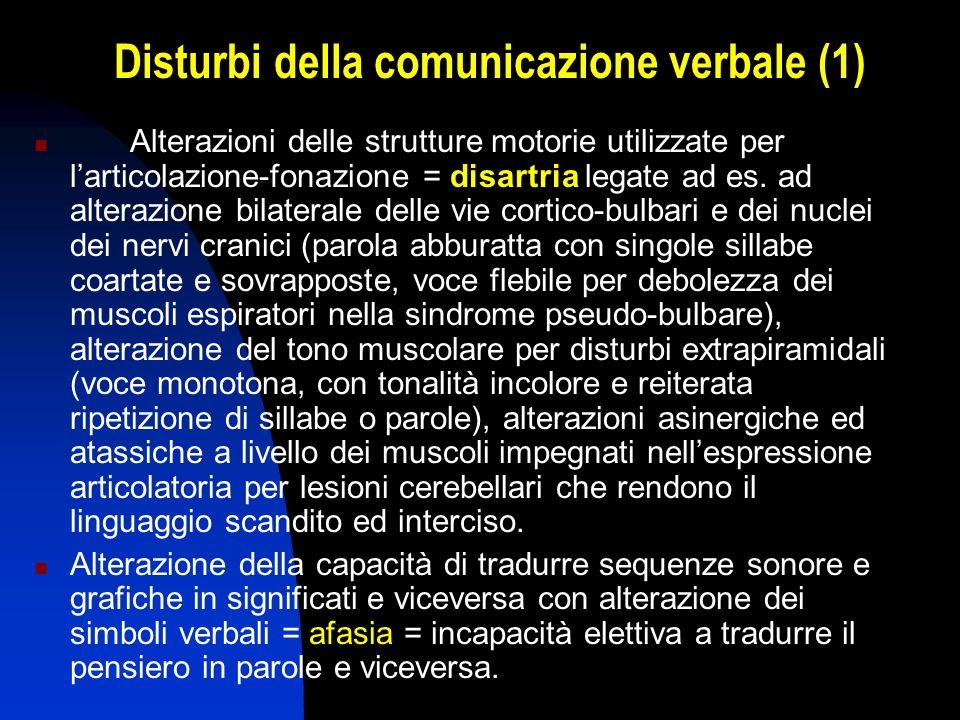 Disturbi della comunicazione verbale (1) Alterazioni delle strutture motorie utilizzate per larticolazione-fonazione = disartria legate ad es. ad alte