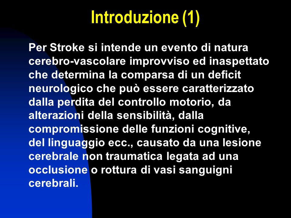 Introduzione (1) Per Stroke si intende un evento di natura cerebro-vascolare improvviso ed inaspettato che determina la comparsa di un deficit neurolo