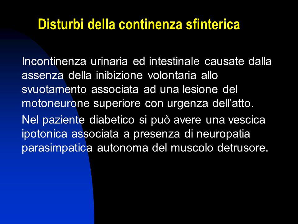 Disturbi della continenza sfinterica Incontinenza urinaria ed intestinale causate dalla assenza della inibizione volontaria allo svuotamento associata