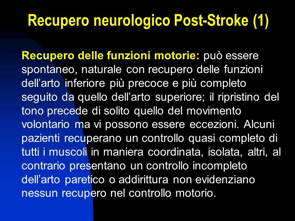 Recupero neurologico Post-Stroke (1) Recupero delle funzioni motorie: può essere spontaneo, naturale con recupero delle funzioni dellarto inferiore pi