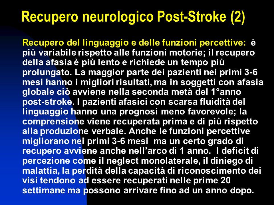 Recupero neurologico Post-Stroke (2) Recupero del linguaggio e delle funzioni percettive: è più variabile rispetto alle funzioni motorie; il recupero