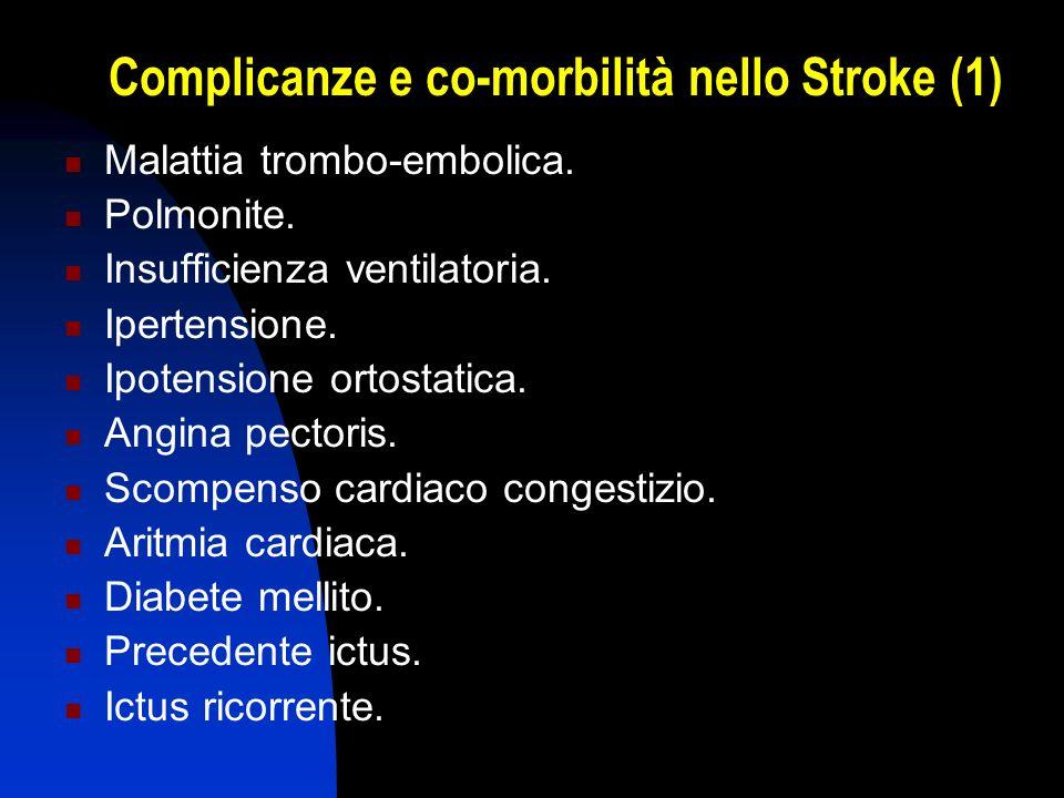 Complicanze e co-morbilità nello Stroke (1) Malattia trombo-embolica. Polmonite. Insufficienza ventilatoria. Ipertensione. Ipotensione ortostatica. An
