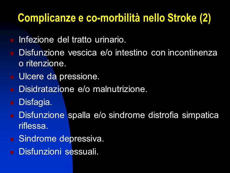 Complicanze e co-morbilità nello Stroke (2) Infezione del tratto urinario. Disfunzione vescica e/o intestino con incontinenza o ritenzione. Ulcere da