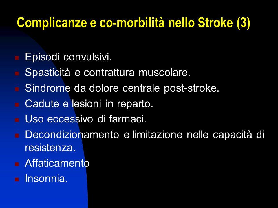 Complicanze e co-morbilità nello Stroke (3) Episodi convulsivi. Spasticità e contrattura muscolare. Sindrome da dolore centrale post-stroke. Cadute e