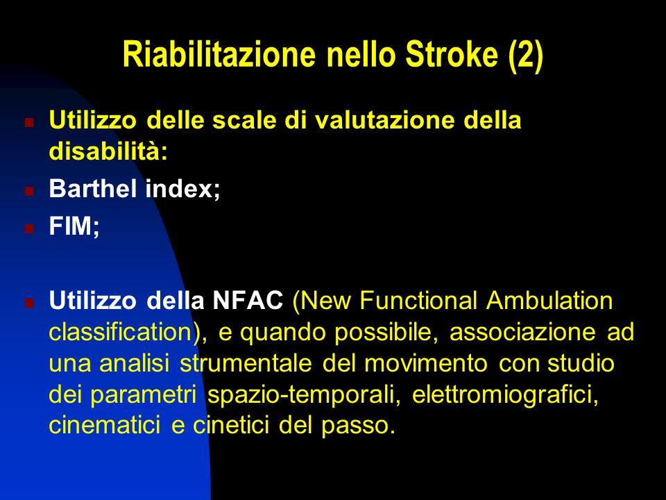 Riabilitazione nello Stroke (2) Utilizzo delle scale di valutazione della disabilità: Barthel index; FIM; Utilizzo della NFAC (New Functional Ambulati