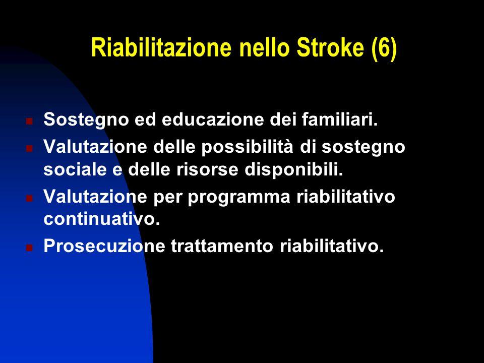 Riabilitazione nello Stroke (6) Sostegno ed educazione dei familiari. Valutazione delle possibilità di sostegno sociale e delle risorse disponibili. V