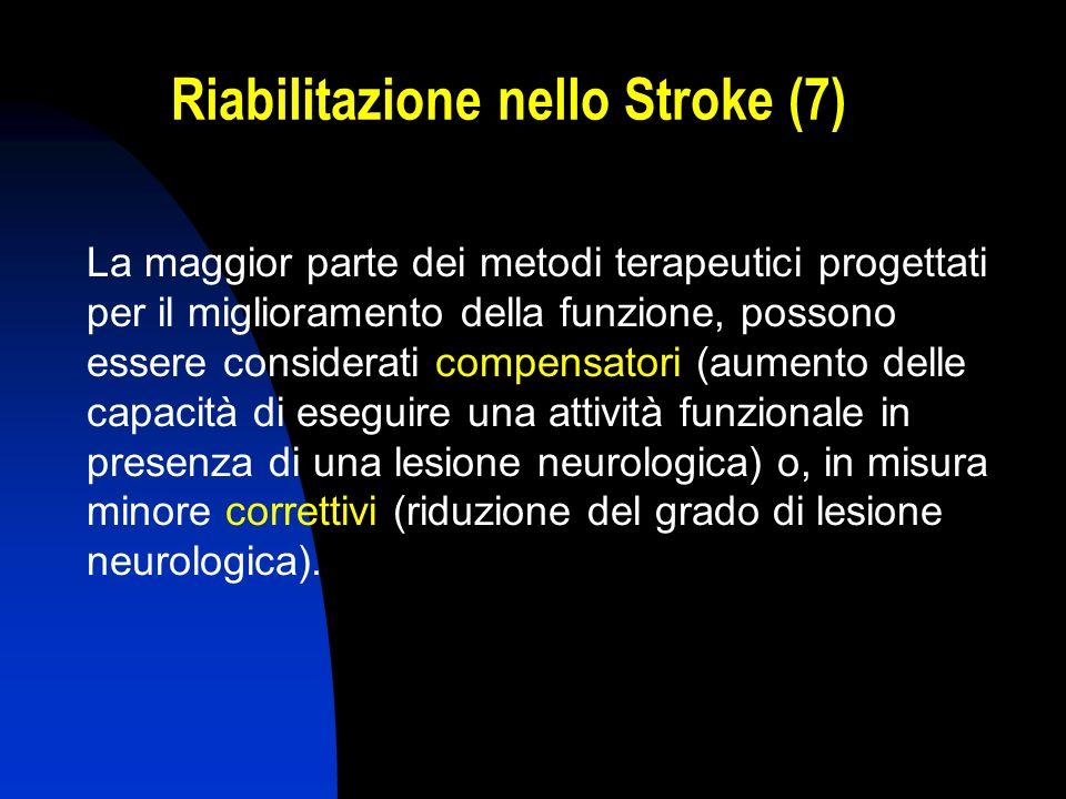 Riabilitazione nello Stroke (7) La maggior parte dei metodi terapeutici progettati per il miglioramento della funzione, possono essere considerati com