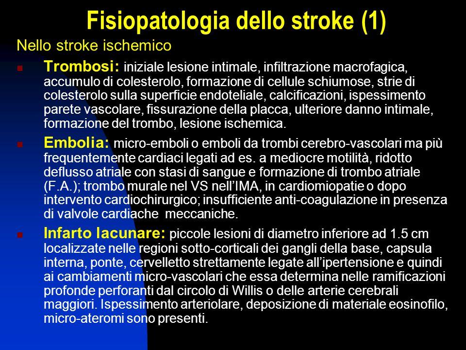 Fisiopatologia dello stroke (1) Nello stroke ischemico Trombosi: iniziale lesione intimale, infiltrazione macrofagica, accumulo di colesterolo, formaz