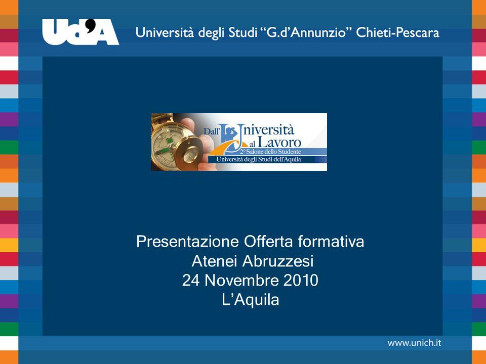 Presentazione Offerta formativa Atenei Abruzzesi 24 Novembre 2010 LAquila