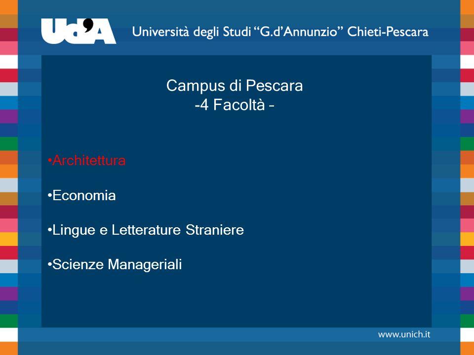 Campus di Pescara -4 Facoltà – Architettura Economia Lingue e Letterature Straniere Scienze Manageriali