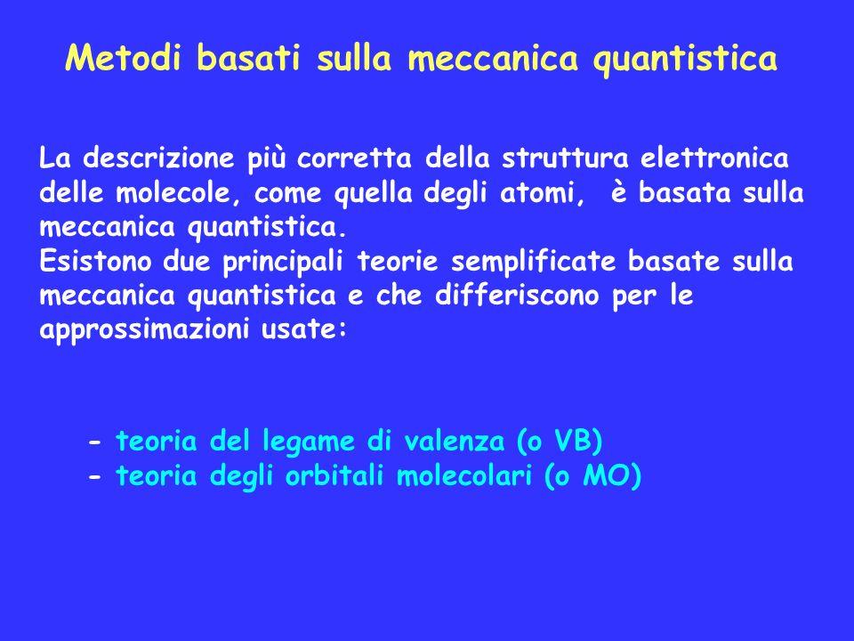 Metodi basati sulla meccanica quantistica La descrizione più corretta della struttura elettronica delle molecole, come quella degli atomi, è basata su