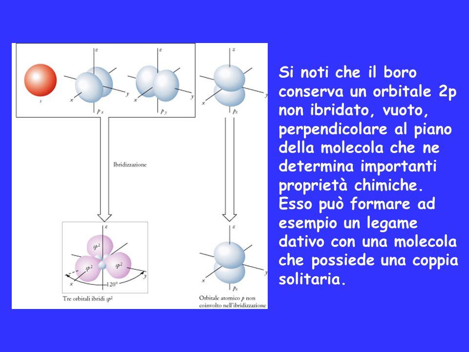 Si noti che il boro conserva un orbitale 2p non ibridato, vuoto, perpendicolare al piano della molecola che ne determina importanti proprietà chimiche