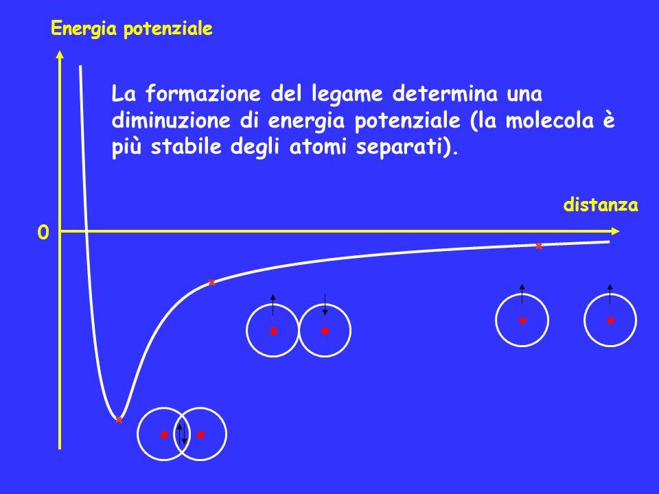 Energia potenziale distanza + + + La formazione del legame determina una diminuzione di energia potenziale (la molecola è più stabile degli atomi sepa