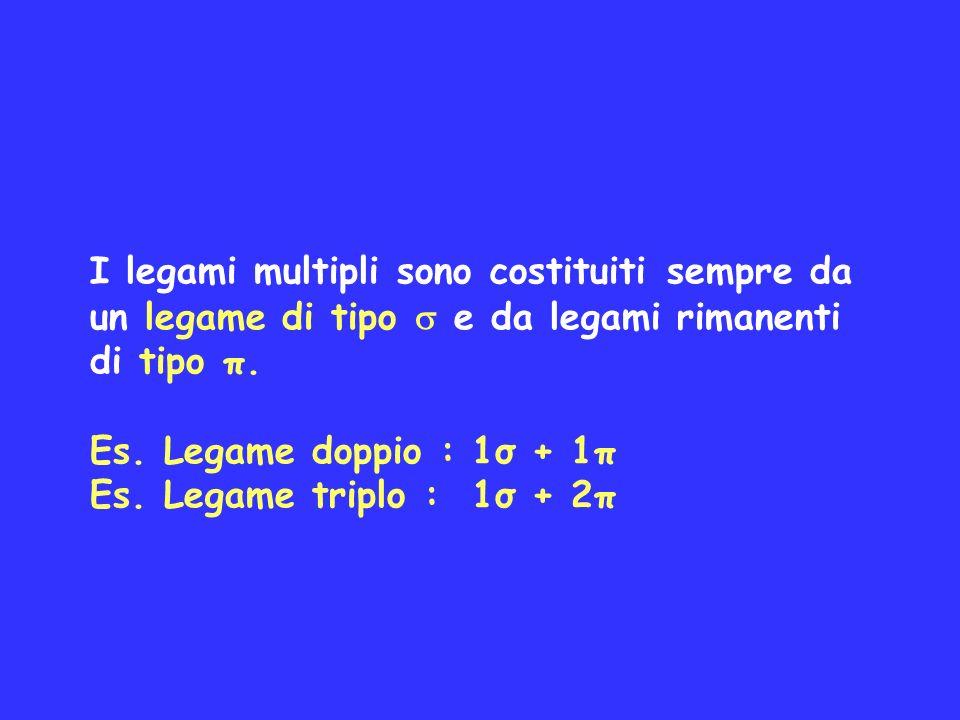 I legami multipli sono costituiti sempre da un legame di tipo e da legami rimanenti di tipo π. Es. Legame doppio : 1σ + 1π Es. Legame triplo : 1σ + 2π