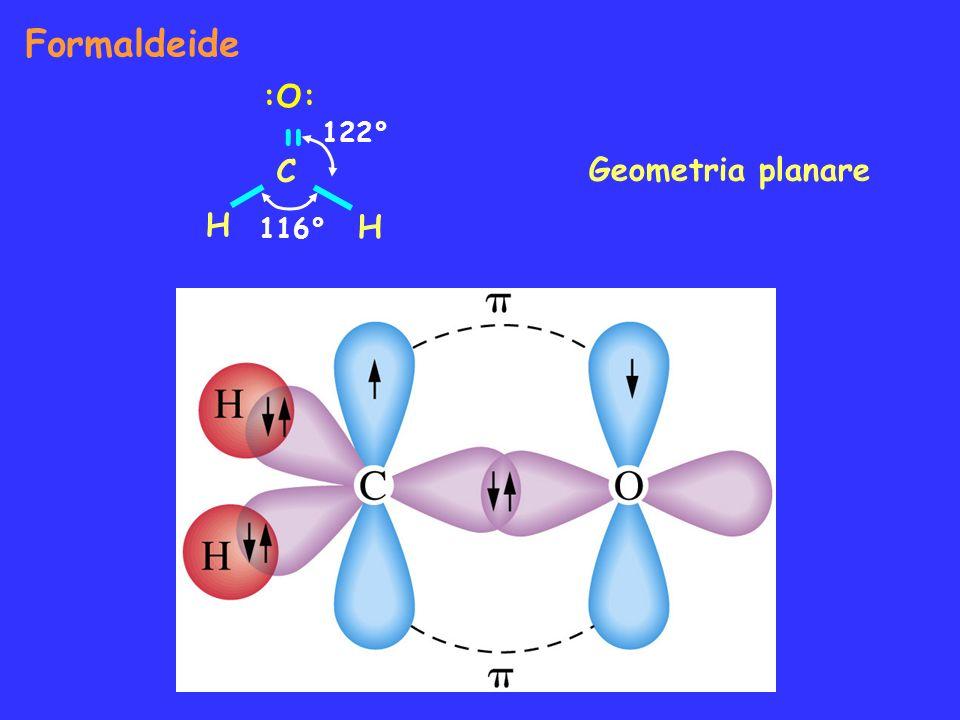 Formaldeide Geometria planare :O: = C H H 116° 122°