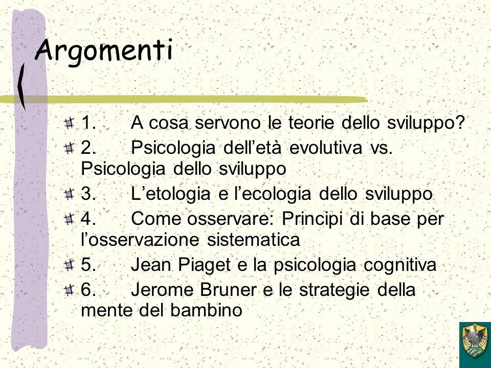 Argomenti 1. A cosa servono le teorie dello sviluppo.