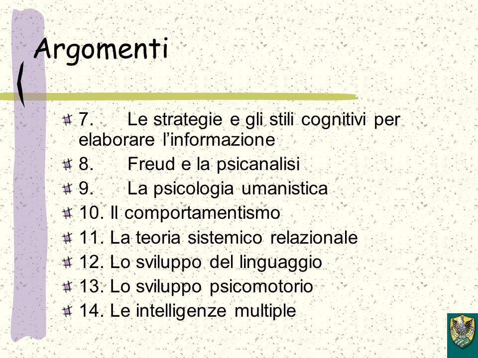 Argomenti 7. Le strategie e gli stili cognitivi per elaborare linformazione 8.