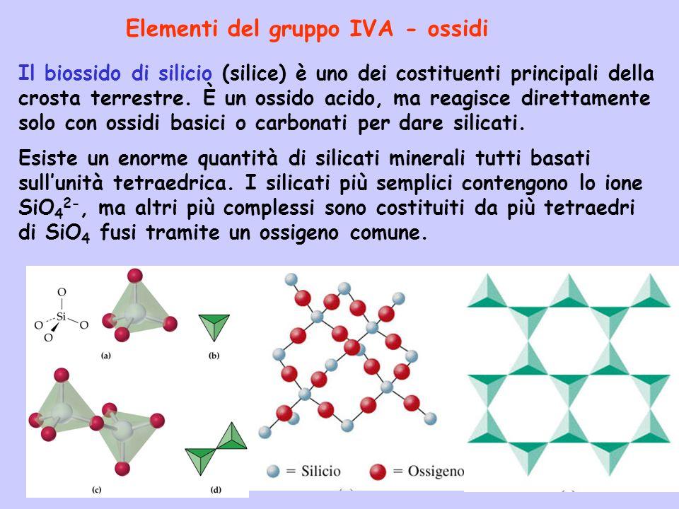 Elementi del gruppo IVA - ossidi Il biossido di silicio (silice) è uno dei costituenti principali della crosta terrestre. È un ossido acido, ma reagis